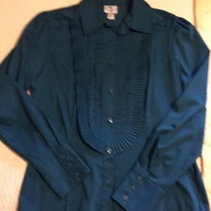 Long sleeved , dark teal color, button up blouse,